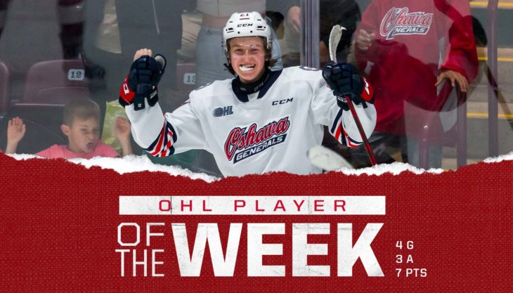 Generals' Calum Ritchie Named OHL Player of the Week